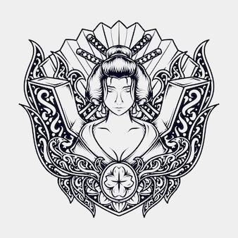 문신과 티셔츠 디자인 흑백 손으로 그린 그림 게이샤 조각 장식