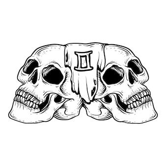 タトゥーとtシャツデザインの黒と白の手描きイラストジェミニスカルゾディアック