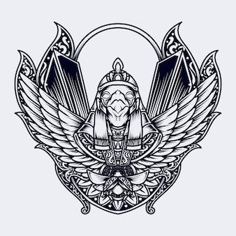 タトゥーとtシャツのデザイン黒と白の手描きイラストホルス彫刻飾り