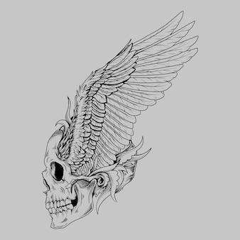 タトゥーとtシャツのデザイン黒と白の手描きイラスト人間の頭蓋骨の翼の鳥