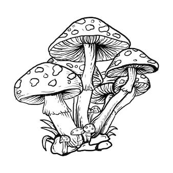 Татуировка и дизайн футболки черно-белая рисованная иллюстрация гриб