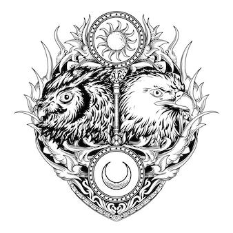 Татуировка и дизайн футболки черно-белая рисованная иллюстрация сова и орел гравюра орнамент