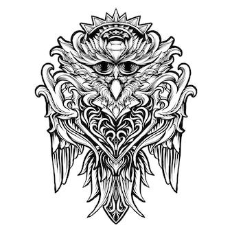 Татуировка и дизайн футболки черно-белая рисованная иллюстрация сова птица гравюра орнамент