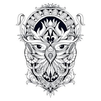 タトゥーとtシャツデザインの黒と白の手描きイラストフクロウ頭抽象的な飾り