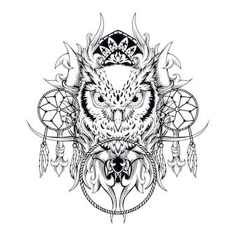 タトゥーとtシャツのデザインの黒と白の手描きイラストフクロウとドリームキャッチャーの彫刻