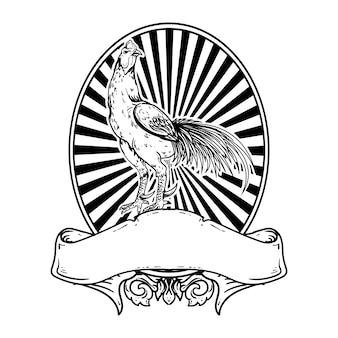 タトゥーとtシャツのデザインの黒と白の手描きイラストオンドリビンテージロゴ