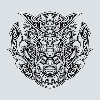Татуировка и дизайн футболки черно-белая рисованная иллюстрация самурай они гравюра орнамент