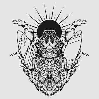 문신과 티셔츠 디자인 흑백 손으로 그린 그림 해골 서핑 보드 여름