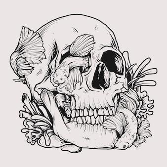 문신과 티셔츠 디자인 흑백 손으로 그린 그림 두개골과 베타 물고기 프리미엄 벡터