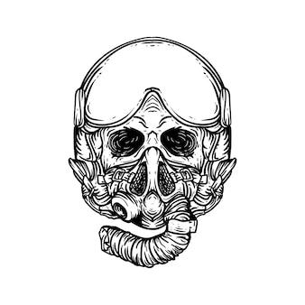 Татуировка и дизайн футболки черно-белая рисованная иллюстрация череп с пилотным реактивным шлемом