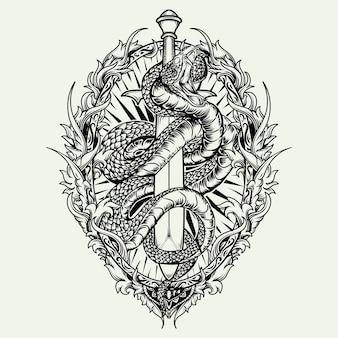 Татуировка и дизайн футболки черно-белая рисованная иллюстрация змея и меч гравировка орнамент