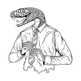 Татуировка и футболка дизайн черно-белая рука рисованные иллюстрации змея человек