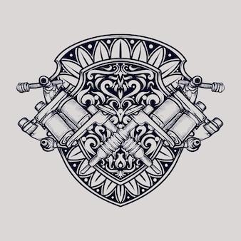 タトゥーとtシャツのデザインの黒と白の手描きイラストタトゥーマシン
