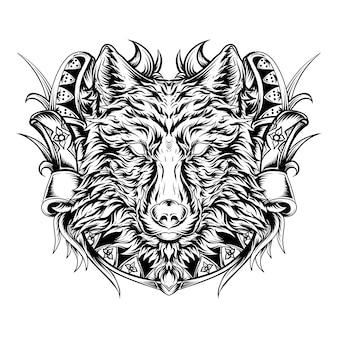 Татуировка и дизайн футболки черно-белая рисованная иллюстрация голова волка гравюра орнамент