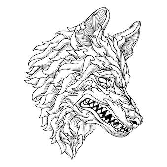 문신과 티셔츠 디자인 흑백 손으로 그린 그림 늑대 머리 장식