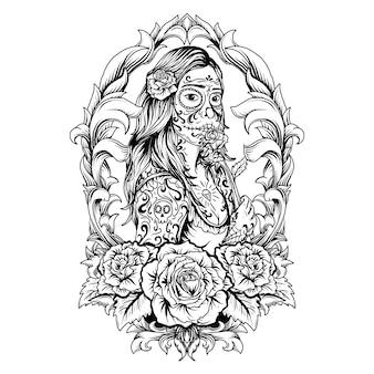 タトゥーとtシャツのデザインの黒と白の手描きイラスト