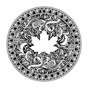 タトゥーとtシャツのデザイン黒と白の手描きのカエデの葉の彫刻飾り