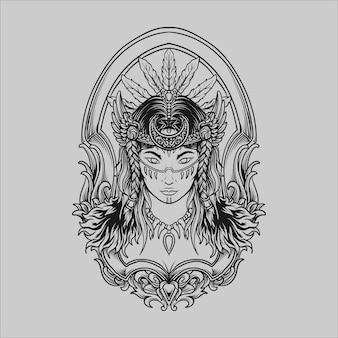 문신과 티셔츠 디자인 흑백 손으로 그린 원시 여성 조각 장식