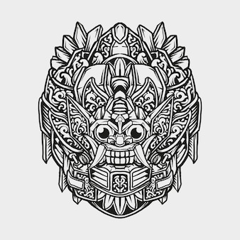 문신과 티셔츠 디자인 흑백 손으로 그린 로봇 바롱 조각 장식