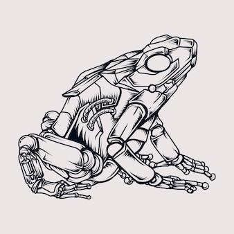Тату и дизайн футболки черно-белый рисованный робот-лягушка