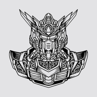 문신과 티셔츠 디자인 흑백 손으로 그려진 로봇 머리와 어깨