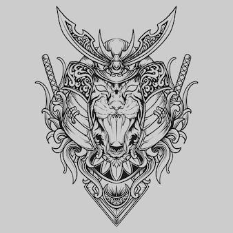 Тату и дизайн футболки черно-белый рисованный самурай тигр гравюра орнамент