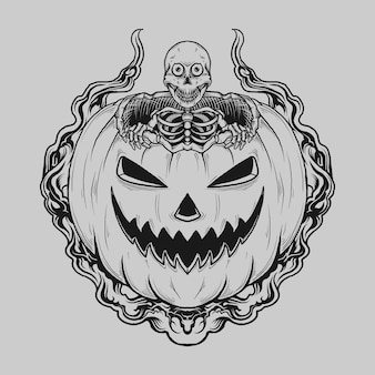 문신과 티셔츠 디자인 호박에 흑백 손으로 그려진 해골