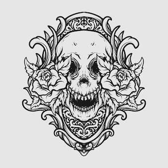 Татуировка и дизайн футболки черно-белый рисованный череп и роза гравировка орнамент