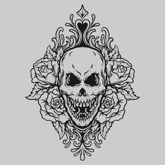 タトゥーとtシャツのデザイン黒と白の手描きの頭蓋骨とバラの彫刻飾り