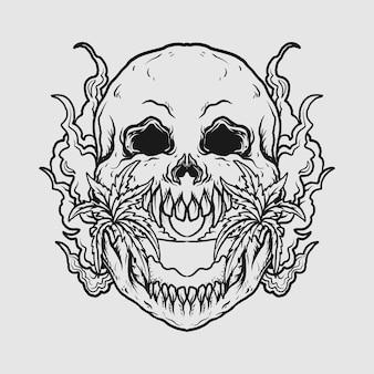 タトゥーとtシャツのデザイン黒と白の手描きの頭蓋骨ビーチ彫刻飾り