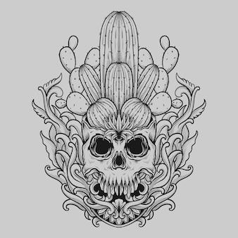 Татуировка и дизайн футболки черно-белый рисованный череп кактус гравировка орнамент