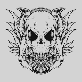 タトゥーとtシャツのデザイン黒と白の手描きの頭蓋骨の彫刻飾り