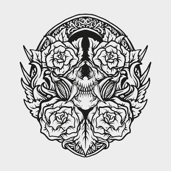Татуировка и дизайн футболки черно-белая рисованная маска черепа и орнамент с розой
