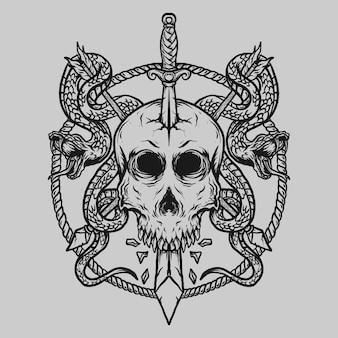 Тату и дизайн футболки черно-белый рисованный череп меч и змея Premium векторы