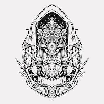 문신과 티셔츠 디자인 흑백 손으로 그린 설탕 해골 여왕 조각 장식