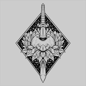 문신과 티셔츠 디자인 흑백 손으로 그린 검과 태양 꽃 눈 조각 장식 프리미엄 벡터
