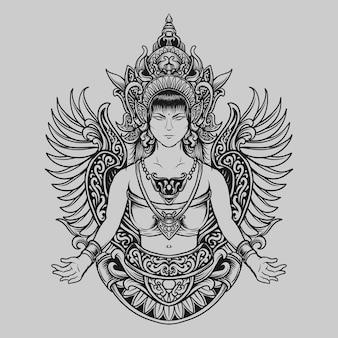 入れ墨とtシャツのデザイン黒と白の手描きの伝統的な天使の女性の彫刻飾り