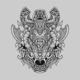 タトゥーとtシャツのデザイン黒と白の手描きのバイキングの頭の彫刻飾り