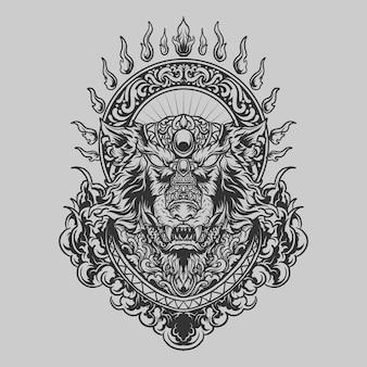 Татуировка и дизайн футболки черно-белый рисованный волк гравюра орнамент