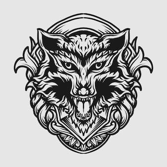 Татуировка и дизайн футболки черно-белая рисованная голова волка гравюра орнамент