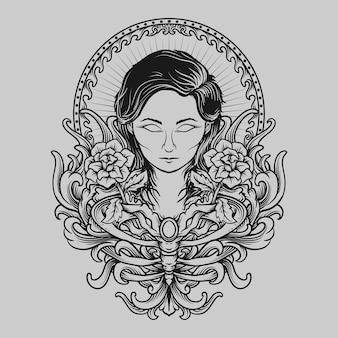 Тату и дизайн футболки черно-белые рисованные женщины и роза гравировка орнамент