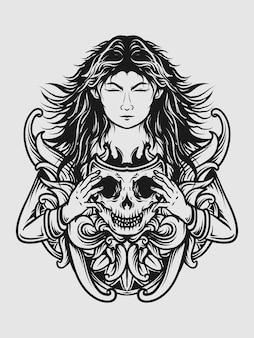 문신과 티셔츠 디자인 흑백 손으로 그린 여성 해골 마스크 조각