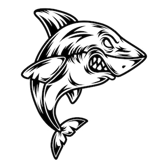 タトゥーとtシャツのデザインの黒と白のサメのイラスト