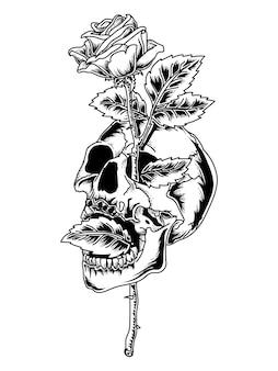 문신과 티셔츠 디자인 검은 색과 흰색 두개골과 장미 프리미엄