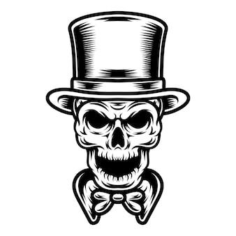 タトゥーとtシャツのデザインの黒と白の頭蓋骨のイラスト