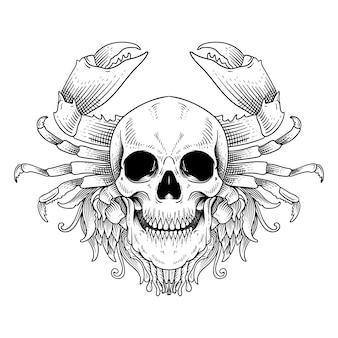 タトゥーとtシャツのデザインの手描きの頭蓋骨とカニの線画黒と白の分離