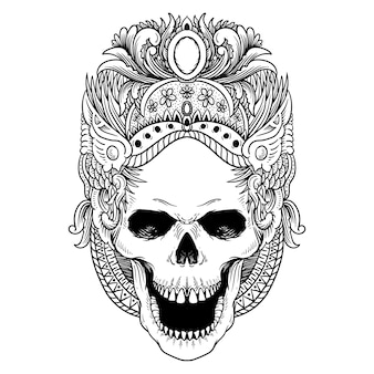 タトゥーとtシャツのデザインラインアートスカルダンス文化バリプレミアムベクトル