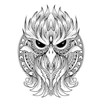 タトゥーとtシャツのデザイン曼荼羅とフクロウのプレミアム