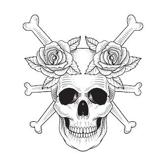 タトゥーとtシャツのデザインの頭蓋骨とバラの手描き