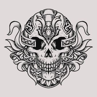 タトゥーとtシャツのデザインの頭蓋骨の彫刻の飾り